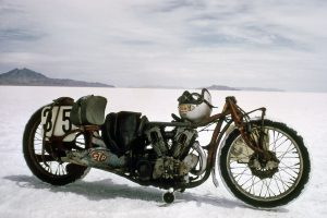 Burt Munro's Indian at the Salt Flats stripped of its streamliner shell – Permission Richard Menzies