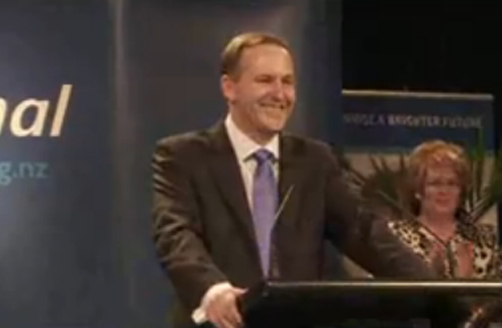Prime Minister Elect John Key gives his victory speech after winning