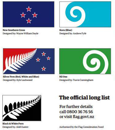 NZ Announces 40 Potential New Flag Designs