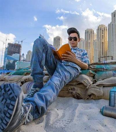 Artist Gary Yong Sand Bags Dubai Beach