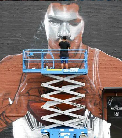 NZ Artist Spray-Paints Steven Adams Mural in Downtown Oklahoma City