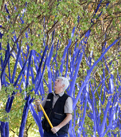 Kon Dimopoulos Painting Chattanooga's Trees Blue