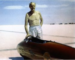 Burt Munro, 1967, in his fireproof pants in Bonneville – Permission Munro Family Collection