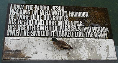 """Baxter's """"Maori Jesus"""" walks on Wellington harbour – now in the form of a sculpture. Photo by Lesley Gedye"""