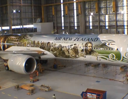 Air NZ's Hobbit Plane Lands in Middle Earth