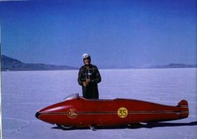 Burt, 1962, and his Munro Special on the Bonneville Salt Flats- Permission Martin Dickerson