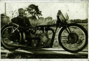Burt Munro with his 1936 Velocette- Permission Munro Family Collection
