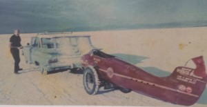 Burt Munro's arrival at the Salt Flats in 1971 - Permission Munro Family Collection