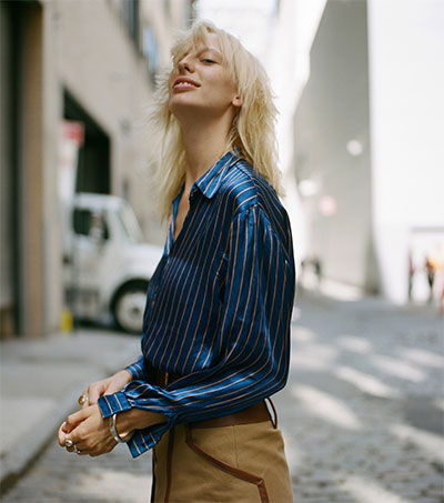 Model Lili Sumner at New York Fashion Week