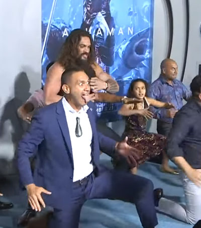 Jason Momoa Performs Haka at Aquaman Premiere